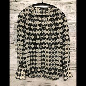 MEXX sheer split neck chiffon boho blouse